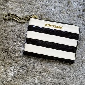 Betsey Johnson White & Black Sequin  Wristlet